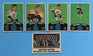 (4) 1970-71 OPC BOBBY ORR Bruins Lot: Conn Smythe-Art Ross-Norris-Hart Trophy