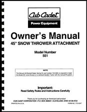 "Cub Cadet 45"" Snow Thrower Attachment Owners Manual Model No. 190-551-100"
