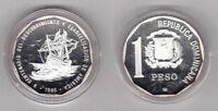 DOMINICAN REPUBLICA  - RARE SILVER PROOF 1 PESO COIN 1989 YEAR KM#74a 500th ANNI