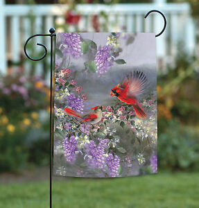 Toland Two Cardinals 12.5 x 18 Colorful Purple Flower Red Bird Garden Flag