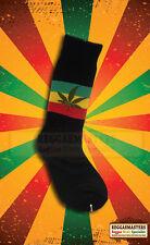 Weed Gunja Leaf Black Socks with Red Gold And Green Stripe Reggae Roots Rasta