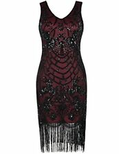 Women's Flapper Dress Vintage Sequin Art Deco Cocktail 1920S Gatsby XL Burgundy