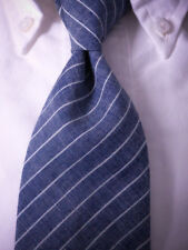 New BROOKS BROTHERS Neck Tie Slim Blue Stripe Silk/Linen? ~ NWT USA