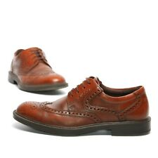 ECCO Size 8 Men's Brown Leather Casual Lace Up Oxford Dress Shoes Shock Absorb