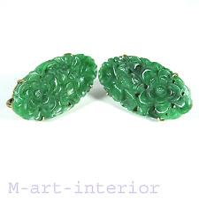 Art Déco Ohrringe Silber vergoldet Jade Blüten Carved Gilt Earrings China 1930´s