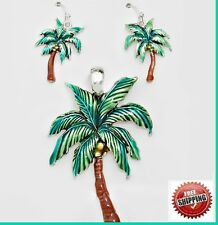 """+ Long 23"""" Chain Silver Tn Tropical Palm Tree Pendant Necklace Earrings Africa"""