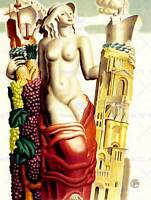 TRAVEL TOURISM BORDEAUX FRANCE GRAPES WINE SHIP CHURCH ART PRINT POSTER CC6905