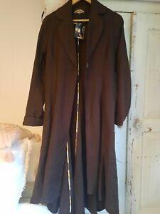 Nancy Mac Long Chocolate Brown Trench Coat Size 10