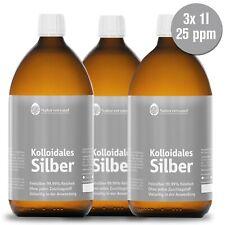 Kolloidales Silber (Silberwasser) 3x 1000ml (3 Liter), 25 ppm, hoch konzentriert