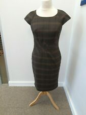 M & S Woman - Brown Checked Cap Sleeved Formal Dress - UK Size 12