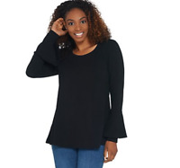 Isaac Mizrahi Live! Scoop Neck Tunic with Bell Sleeve Detail - Black - XLarge