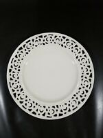 "I. Godinger Regal Cream Dessert / Bread Plate, 8"" Reticulated Rose, EUC"