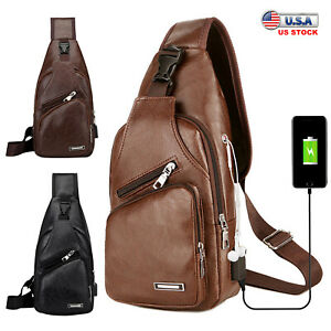 Men PU Leather Sling Chest Bag with USB Charge Cable Travel Sport Shoulder Pack