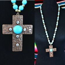 New Western Copper Bling Cross Necklace w/ Turquoise & Navajo Pearl Style Beads