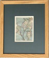 Vintage Designer Fine Embroidery Floral Art Display Creator Sally Ziesler Framed