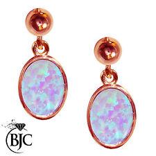 9 Carat Oval Rose Gold Drop/Dangle Fine Earrings