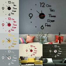 Large DIY Wall Clock 3D Stickers Roman Numerals DIY Wall Modern Home Silent