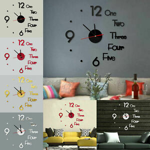 Large DIY Wall Clock 3D Stickers Roman Numerals DIY Wall Modern Home Silent