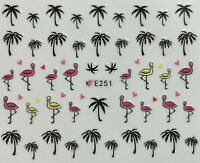 Nail Art Water Decals Transfers Stickers Summer Palm Trees Flamingo Hearts E251