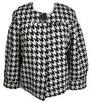 WD.NY Women's Black & Off White Houndstooth Style Jacket One Button Size UK 12