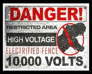 DANGER RESTRICTED AREA ELECTRIC FENCE JURASSIC PARK METAL SIGN WALL PLAQUE 1658