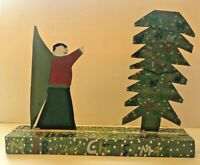 R.A. Miller Christmas Folk Art Sculpture Signed Outsider Art RARE Free Ship