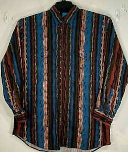 ROPER BRAND MULTICOLOR ABSTRACT PRINT VERTICAL STRIPED L/S COTTON SHIRT - XL