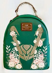 Loungefly Disney Marvel Loki Floral Mini Backpack Avengers Infinity Saga Bag
