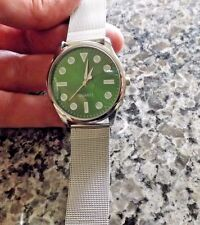 Great vintage look in a new men's quartz analog watch with stainless steel band
