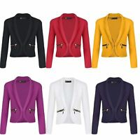 Girls Long Sleeve Open Front Blazer Zip Pocket Jacket Kids Cardigan Top 3-14 Y