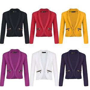 Girls Long Sleeve Open Front Blazer Zip Pocket Jacket Kids Cardigan Top 3-14 Y