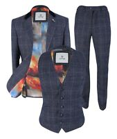 Mens Miles Navy Tweed Check Blue Peaky Blinders Jacket Blazer Waistcoat Trousers