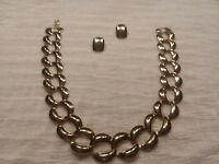 Bold Gold Large Chain Link Necklace And Earring Set