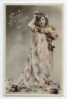 c 1910 Glamour PRETTY LITTLE GIRL in long dress child children photo postcard