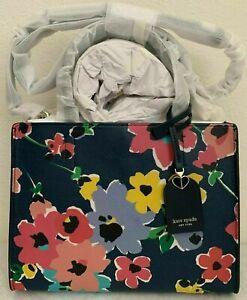 NWT Kate Spade Sam Wildflower Bouquet Medium Satchel in NAVY MULTI Original Pack