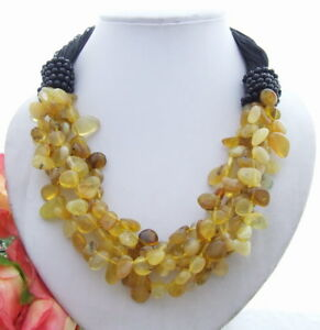 5 Strands Natural Yellow Opal faceted Onyx Necklace