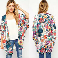 Womens Floral Boho Summer Cardigan Kimono Loose Bikini Cover Up Coat Plus Size
