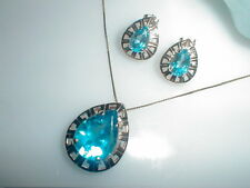 14K Gold Mexico Blue Topaz Pendant W/14k Chain & Earrings*Stunning Set*7.4 Grams