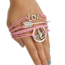 "7"" Hummingbird Love Adjustable Pink Leather Cord Lobster Clasp Silver Bracelet"