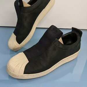 ADIDAS Originals Superstar Womens 9 Black Leather Shoes Cream Shell Toe Sneakers