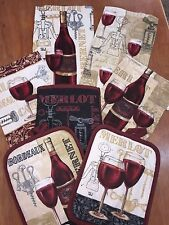 7 Pc Kitchen Set 2 Hand Towels,2 Pot Holders,1 Mitt, 2 Cloths- Merlot Wine Glass
