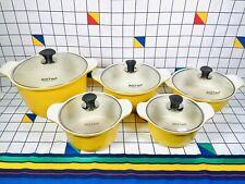 More details for vintage hoffman yellow natural ceramic retro cooking saucepans pots set of 5