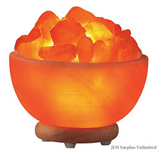Fruit Bowl Himalayan Pink Salt Lamp Elegant Durable Neem Wood Base Natural Air