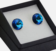 925 Sterling Silver made with Swarovski Crystals 12mm Bermuda Blue STUD