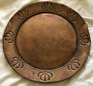 Arts Neauvou  Solid Copper Round Tray Embossed  J.S & S Made In England
