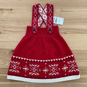 NWT HANNA ANDERSSON Red Snowflake Sweater Jumper Dress Size 70 6-12 Months