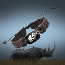 Love Rhino Brown Leather Adjustable Bracelet Free Shipping USA Seller