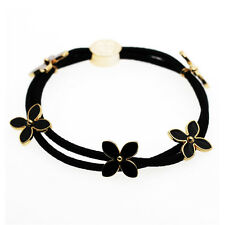 Black Flowers Girl Charms Elastic Hair Band Wrap Accessories HA252