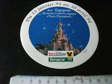 Autocollant euro disney europcar 15/01 au 30/04 1994 mickey
