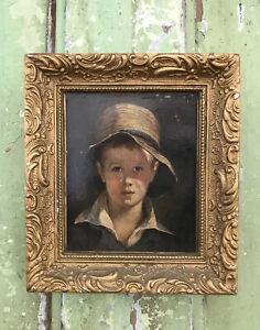 STUNNING Old 1930/40s CHALKWARE Portrait Boy Picture Print VINTAGE ANTIQUE